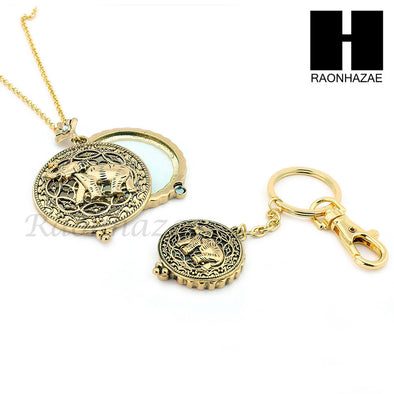 Gold 5X Magnifying Glass Lady Luck Elephant Key Chain Pendant Chain Necklace Set SJ2G - Raonhazae