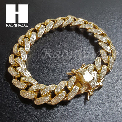 "Iced Out .925 Sterling Silver Gold Silver 14mm 8.5"" Miami Cuban Bracelet L2 - Raonhazae"