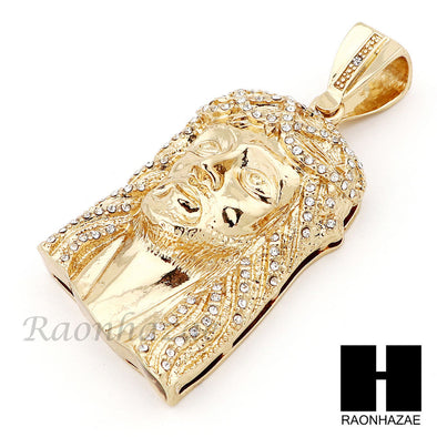 "Hip Hop 14k Gold Plated Jesus Face PAVE Pendant 30"" Cuban Link Chain N4 - Raonhazae"