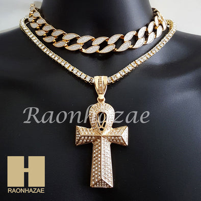"Hip Hop Iced Out Gold Ankh Cross Pendant 16"" Iced Out Choker 18"" Tennis Chain 8 - Raonhazae"
