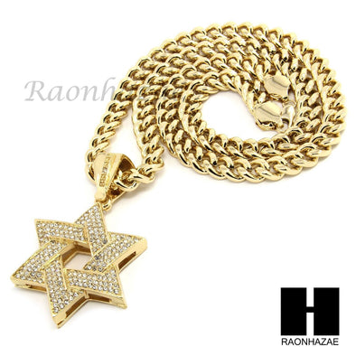 "MENS HIP HOP ICED OUT GOLD STAR OF DAVID PENDANT 30"" / 36"" CUBAN NECKLACE N22 - Raonhazae"