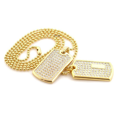"NEW ICED OUT RAPPER DOUBLE DOG TAG 18k GOLD FILLED W 30"" BALL CHAINS DTC001GS - Raonhazae"