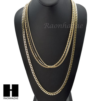 "HIP HOP 14K GOLD PT 4 CHAINS ROPE, BOX, 30"" CUBAN LINK NECKLACE CHAIN SET GN158G - Raonhazae"