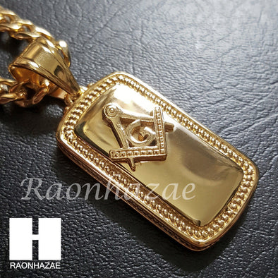 Iced Out 316L Stainless steel Gold Freemason Dog Tag 5mm Cuban Chain SG1 - Raonhazae