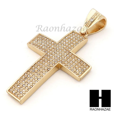 "Hip Hop 14k Gold Plated 2Pac Cross PAVE Pendant 30"" Cuban Link Chain N1 - Raonhazae"
