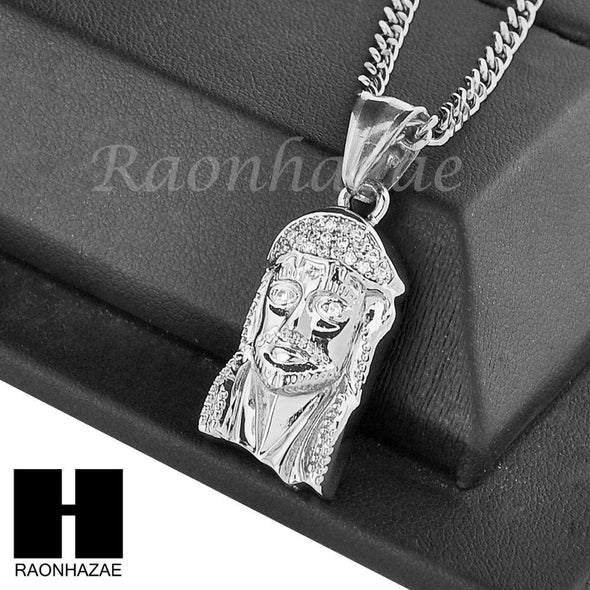 "MENS STAINLESS STEEL JESUS FACE CZ PENDANT 24"" CUBAN NECKLACE SET NP005 - Raonhazae"