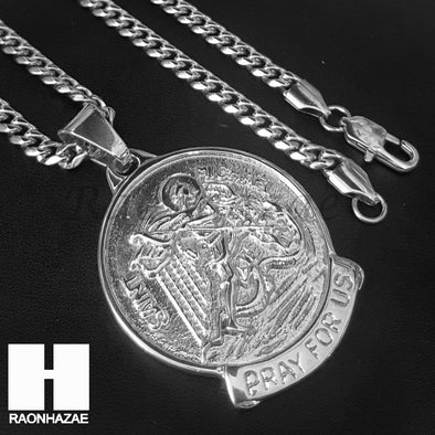 Mens Iced Out 316L Stainless steel Silver Saint Micheal Angel Pendant SS019 - Raonhazae