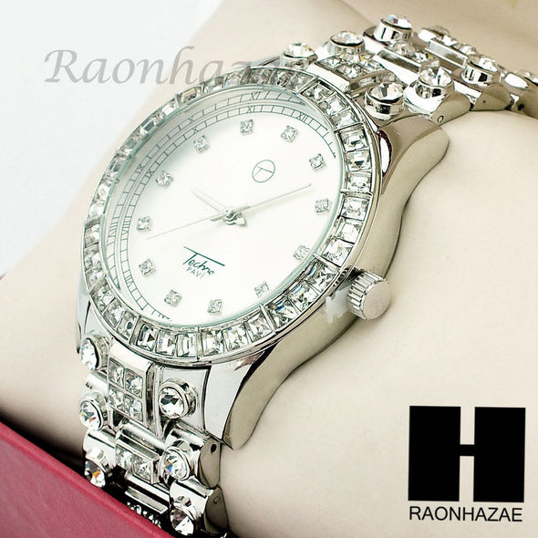 Men Techno Pave Lil Wayne Hip Hop Lab Diamond 14K White Gold Iced Out Watch 194S - Raonhazae
