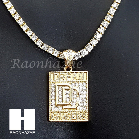 "DREAM CHASERS CHARM 16""-30"" TENNIS CHAIN 30"" CUBAN CHAIN NECKLACE G32 - Raonhazae"