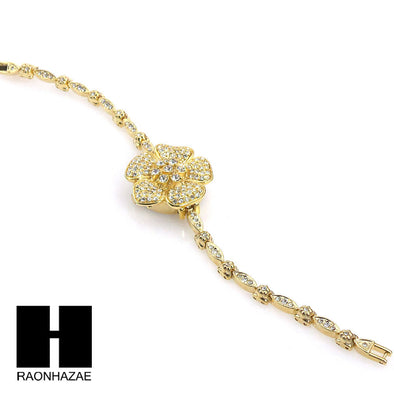NEW Women Luxury Golden Flower Lab Simulated Diamond Bracelet Wrist Watch WW002 - Raonhazae