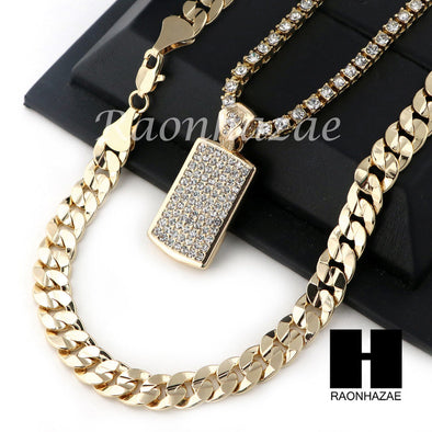 "MEN HIP HOP ICED OUT DOG TAG TENNIS CHAIN DIAMOND CUT 30"" CUBAN LINK CHAIN S51 - Raonhazae"