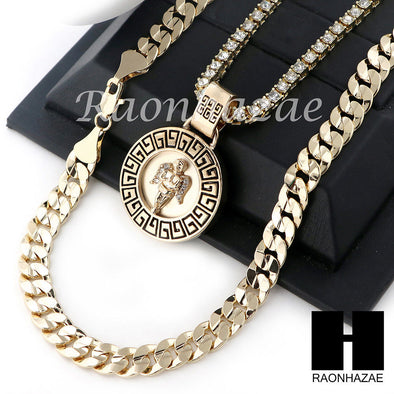 "ICED OUT ANGEL ROUND TENNIS CHAIN DIAMOND CUT 30"" CUBAN LINK CHAIN NECKLACE S044 - Raonhazae"