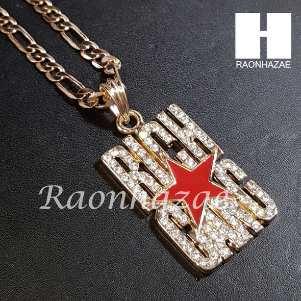 "New 14k Gold PT Rich Gang Pendant 15mm Miami Cuban 30"" Necklace S198 - Raonhazae"