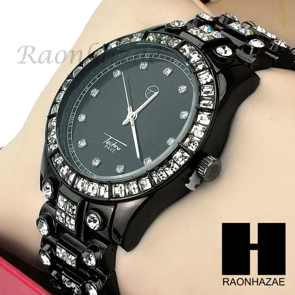 Men Techno Pave Lil Wayne Hip Hop Lab Diamond Jet Black Iced Out Watch 194BK - Raonhazae