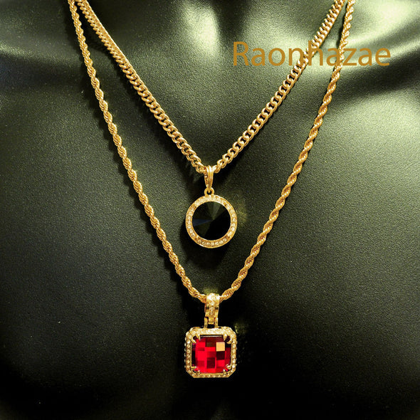 "HIP HOP RED RUBY or BLACK ONYX PENDANTS 24"" ROPE CUBAN CHAIN COMBO NECKLACE K01 - Raonhazae"