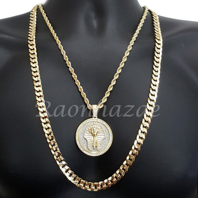 "KING-TUT ROUND ROPE CHAIN DIAMOND CUT 30"" CUBAN CHAIN NECKLACE SET G38 - Raonhazae"