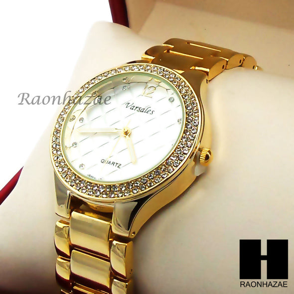 Women Swarovski Gold Filled Varsales w/ Luxury CZ Stone Gold Tone Watch GW225 - Raonhazae