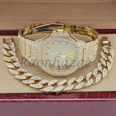MEN 14K GOLD PT LUXURY BLING WATCH CUBAN BRACELET COMBO SET FM10G - Raonhazae