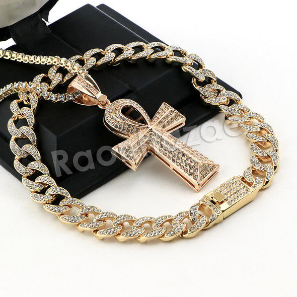 Hip Hop Quavo Ankh Cross Miami Cuban Choker Tennis Chain Necklace L09 - Raonhazae