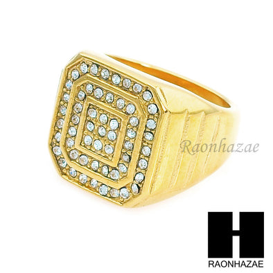 MEN RING 316L STAINLESS STEEL GOLD TONE CZ BLING RING SIZE 8-12 SR003G - Raonhazae