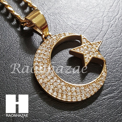 316L Stainless steel Gold Muslim Moon&Star Pendant 5mm Cuban Chain S25 - Raonhazae