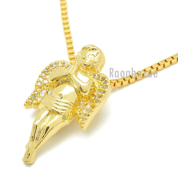 "HIP HOP 14K GOLD PLATED MIGOS ANGEL PENDANT W 3mm 24"" BOX CHAIN NECKLACE K440G - Raonhazae"