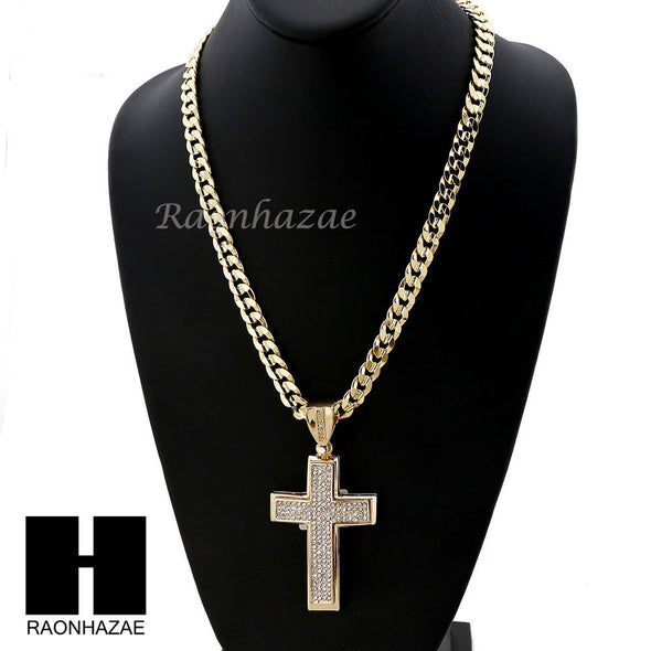 MENS ICED OUT LARGE CROSS PENDANT & DIAMOND CUT CUBAN LINK CHAIN NECKLACE NN50 - Raonhazae