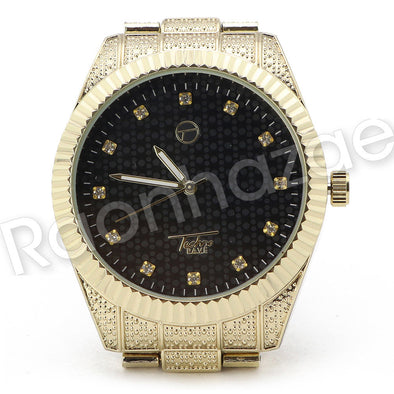 Hip Hop 14K Gold PT Black Face Gold Watch Sandblast Bracelet Set F32G - Raonhazae