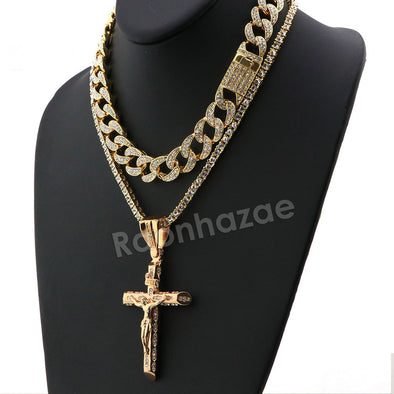 Hip Hop Quavo Small Cross Miami Cuban Choker Tennis Chain Necklace L15 - Raonhazae