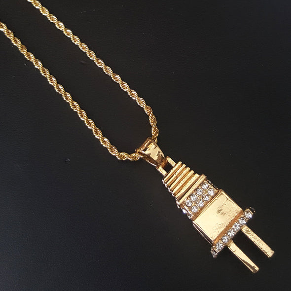 "New 14k Gold PT Electric Power Plug 15mm Miami Cuban 30"" Necklace S190 - Raonhazae"