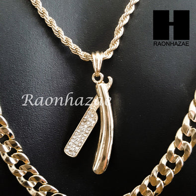 "MEN BARBER SHOP BLADE DIAMOND CUT 30"" CUBAN LINK CHAIN NECKLACE S075G - Raonhazae"