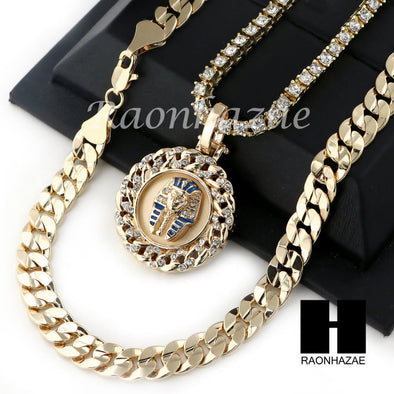 "MEN HIP HOP KING TUT TENNIS CHAIN DIAMOND CUT 30"" CUBAN LINK CHAIN S53 - Raonhazae"