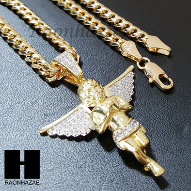 Micro Pave 14K Gold PT Angel Bling Pendant w/ Miami Cuban Chain B031G - Raonhazae