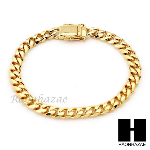 Stainless Steel Gold Finish Heavy 7mm Miami Cuban Link Chain Necklace Bracelet 1 - Raonhazae