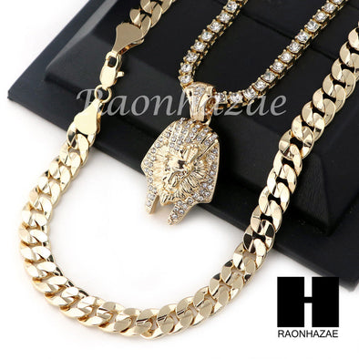 "KINGTUT LION TENNIS CHAIN DIAMOND CUT 30"" CUBAN LINK CHAIN NECKLACE S49 - Raonhazae"