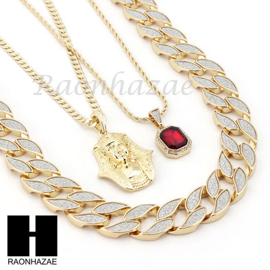 "ICED OUT RUBY KING TUT PENDANT 24"" 30"" CUBAN LINK ROPE CUBAN NECKLACE SET D023 - Raonhazae"