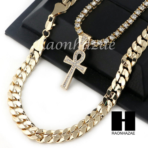 "MEN HIP HOP ANKH TENNIS CHAIN DIAMOND CUT 30"" CUBAN LINK CHAIN S54 - Raonhazae"