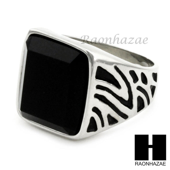 MEN STAINLESS STEEL HIP HOP ANTIQUE SILVER BLACK ONYX RING 8-12 SR028CL - Raonhazae