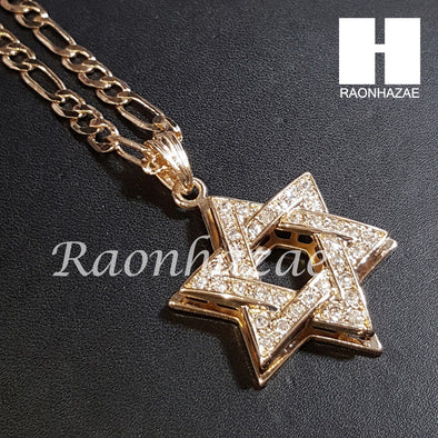 "New 14k Gold PT Star of David Pendant 15mm Miami Cuban 30"" Necklace 196 - Raonhazae"