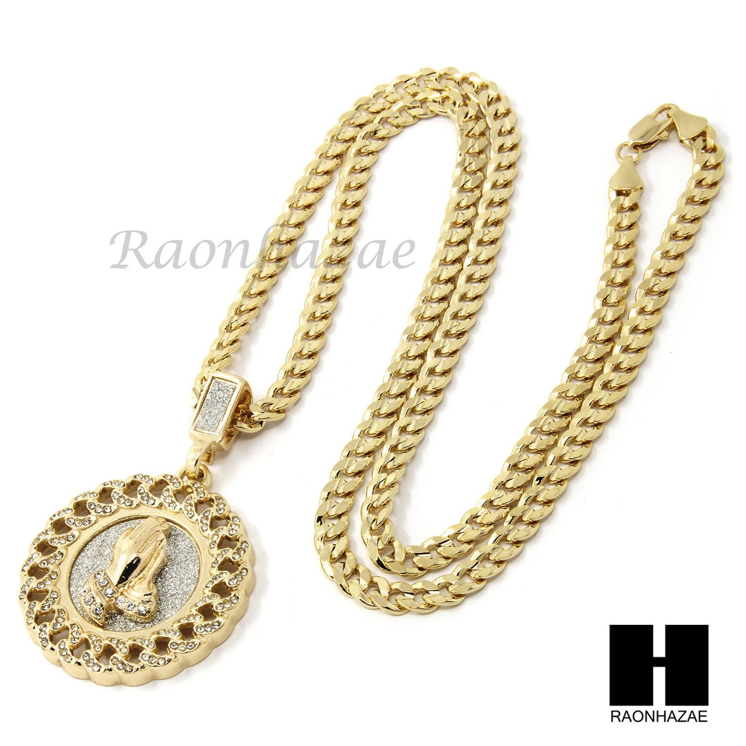Mens Hip Hop Gold Praying Hands Round Pendant 24 Cuban Necklace N21 Raonhazae