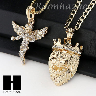 MEN ANGEL & KING LION PENDANT BOX CUBAN CHAIN DOUBLE NECKLACE SET SD05 - Raonhazae