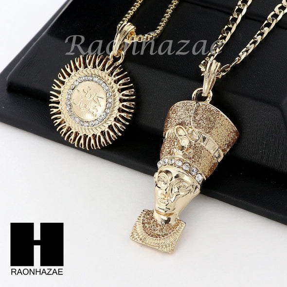 MEN ALLAH & NEFERTITI PENDANT BOX CUBAN CHAIN DOUBLE NECKLACE SET SD06 - Raonhazae