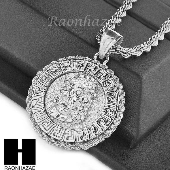"MENS STAINLESS STEEL JESUS FACE MEDALLION PENDANT 24"" ROPE CHAIN NECKLACE NP015 - Raonhazae"