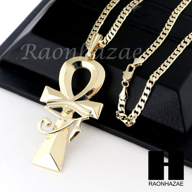 RUBY EYE OF HERU ANKH PENDANT CUBAN LINK ROPE CUBAN NECKLACE SET D015 - Raonhazae