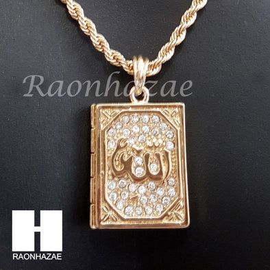 "ALLAH QURAN ROPE CHAIN DIAMOND CUT 30"" CUBAN LINK CHAIN NECKLACE S063 - Raonhazae"