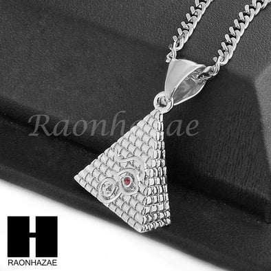"STAINLESS STEEL EGYPTIAN PYRAMID EYE OF HERU PENDANT 24"" CUBAN NECKLACE NP007 - Raonhazae"