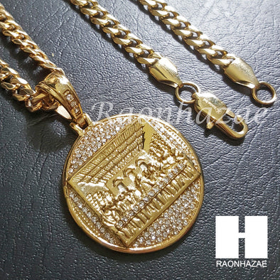 316L Stainless steel Gold Last Supper w/ 5mm Cuban Chain SG37 - Raonhazae