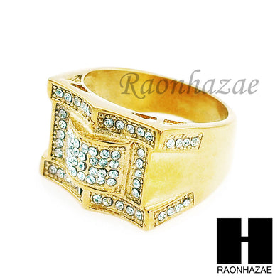 MEN RING 316L STAINLESS STEEL GOLD TONE CZ BLING RING SIZE 8-12 SR001G - Raonhazae
