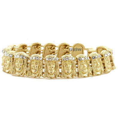 ICED OUT JESUS FACE GOLD PLATED MICRO PAVE CLEAR CUBIC 8.5 BRACELET KB016G - Raonhazae