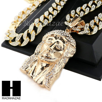 "Hip Hop 14k Gold Plated Jesus Face PAVE Pendant 30"" Cuban Link Chain N5 - Raonhazae"